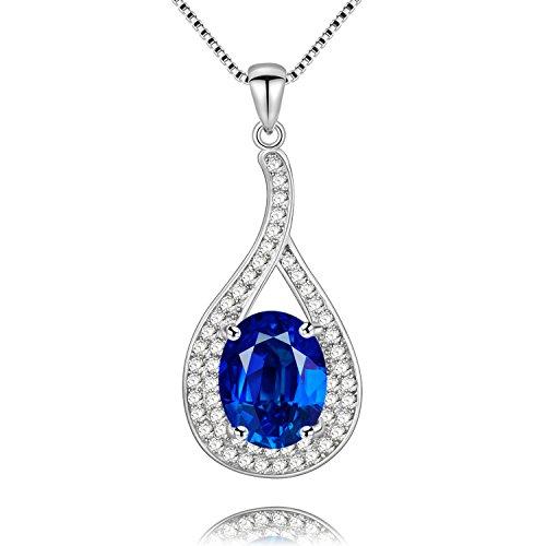 Uloveido 1.5 Quilates Ovalado Azul Natural Colgante de topacio Collar de Piedra Natal de diciembre con Caja de Cadena de Plata de Ley 925 FN003