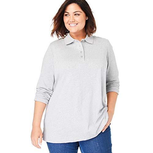 Woman Within Women's Plus Size Long-Sleeve Polo Shirt - 4X, Heather Grey