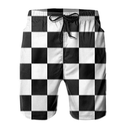 MayBlosom Pantalones cortos de playa para hombre, color blanco y negro, con rejilla de verano, de secado rápido, pantalones cortos divertidos 3D, ropa de playa con cordón