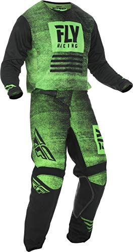 Fly Racing - 2019 KINETIC NOIZ (Mens NEON GREEN & BLACK Large/34W) MX Riding Gear Combo Set, Motocross Off-Road Dirt Bike Light Weight Durable Jersey & Mesh Comfort Liner Stretch Pre Shaped Knees Pant
