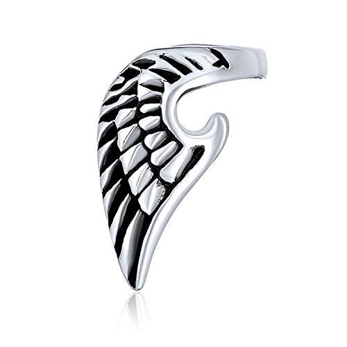 Schutzengel Flügel Feder Knorpel Ohr Lobe Helix Ohrring Warp Ohr Manschette Clip Unisex Schwarz Oxidiert Edelstahl