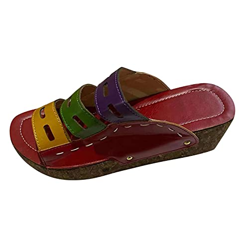 Orthopedic Sandals, Caged Wedge Sandals, Orthopedic Comfy Premium Summer Sandals for Women (Red,7)