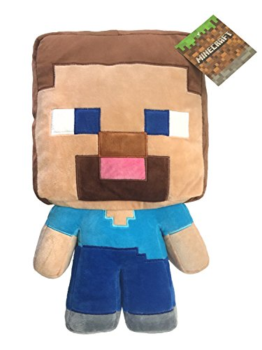 Jay Franco Mojang Minecraft Steve Plush Pillow Buddy - Kids Super Soft Polyester Microfiber, 16 inch (Official Product)