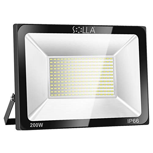 SOLLA 200W LED Flood Light, IP66 Waterproof, 16000lm, 1060W Equivalent, Super Bright Outdoor Security Lights, 6000K Daylight White, Floodlight Landscape Wall Lights