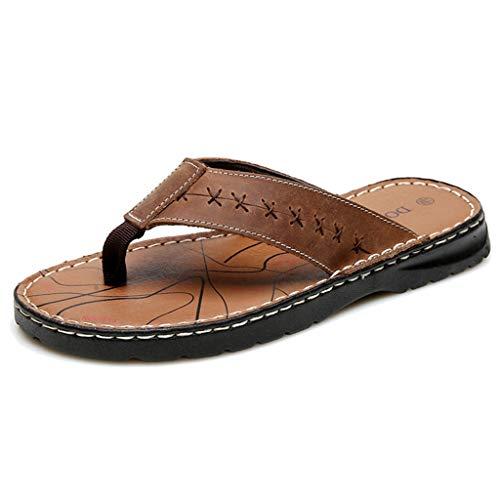 WXFF Chancletas de Cuero para Hombres Moda de Verano Pellizco Chancletas Extra Grandes en Interiores y Exteriores Lazy Leisure Beach Zapatillas de Gran tamaño (Color : Brown, Size : 48)