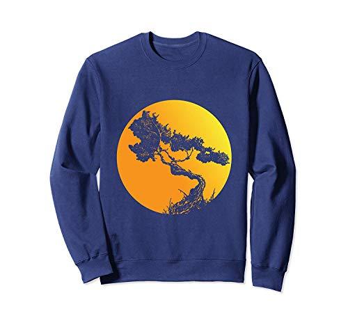 B.on.sai Tree P.rint Japanese BU.DD.hist Trees Sunset Sw.Eatshirt - Front Print Sweatshirt For Men and Women