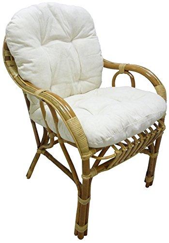 Savino Filippo- Sillón en mimbre de bambú y ratán natural - Modelo Sole - Sillón con cojín para salón