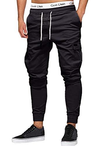 Onsoyours Herren Jogger Cargo Herren Chino Multi-Tasche Slim Fit Cargohose Jogger Hose Freizeithose Streetwear für Herbst Winter Z4 Schwarz Small