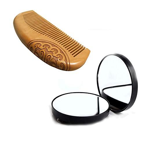 Fellibay Miroir de voyage grossissant 10 x avec peigne en bois