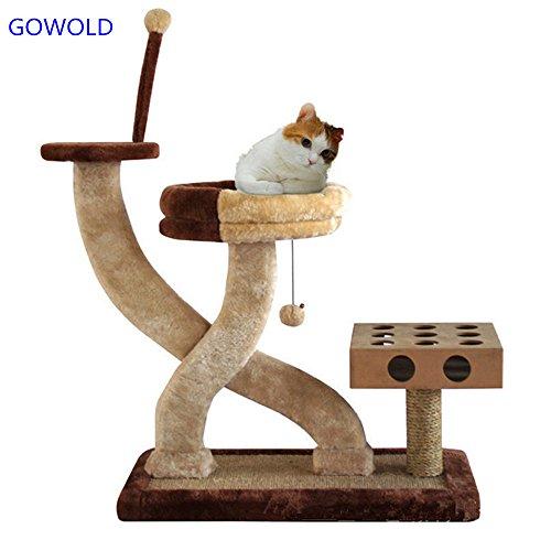 ZPWSNH huisdier speelgoed kat krasplank met negen gaten op zoek naar doos puzzel kat speelgoed kat boom kat klimmen frame huisdier trap