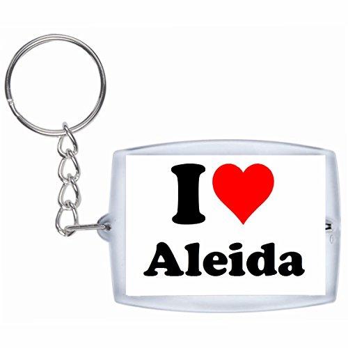"""EXCLUSIVO: Llavero """"I Love Aleida"""" en Blanco, una gran idea para un regalo para su pareja, familiares y muchos más! - socios remolques, encantos encantos mochila, bolso, encantos del amor, te, amigos, amantes del amor, accesorio, Amo, Made in Germany."""