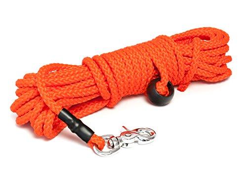 Mystique® Nylon Feldleine rund 7mm neon orange Scherenkarabinerhaken (15m)