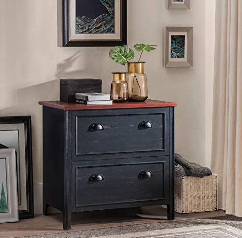 2L Lifestyle Byron 2-Drawer File Cabinet, Small, Black and Cherry