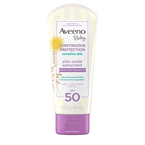 Aveeno Baby Continuous Protection Zinc Oxide Mineral Sunscreen Lotion for Sensitive Skin, Broad Spectrum SPF 50, Tear-Free, Sweat- & Water-Resistant, Paraben-Free, Travel-Size, 3 fl. oz