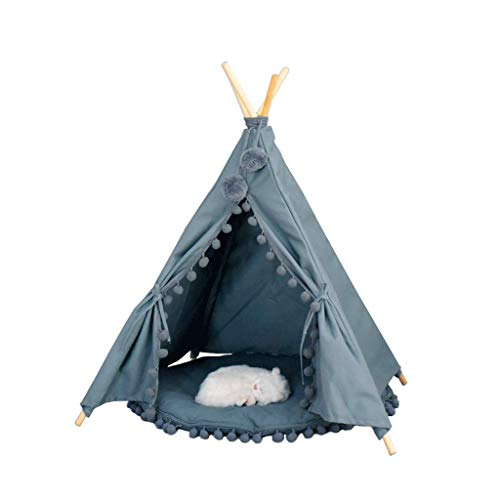 GUOTAIJUNFU Camas Tienda de Mascotas Casa de Perro de Madera Cama del Animal doméstico Gato de la Cama Yurt Lavable Perrera Cat Litter Small (Color : A)