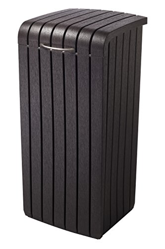 Keter 232126 Large Trash Can with Lid for Patio and Outdoor Kitchen Brown