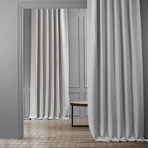 HPD Half Price Drapes BOCH-LN1859-84 Faux Linen Blackout Room Darkening Curtain (1 Panel), 50 X 84, Heather Grey