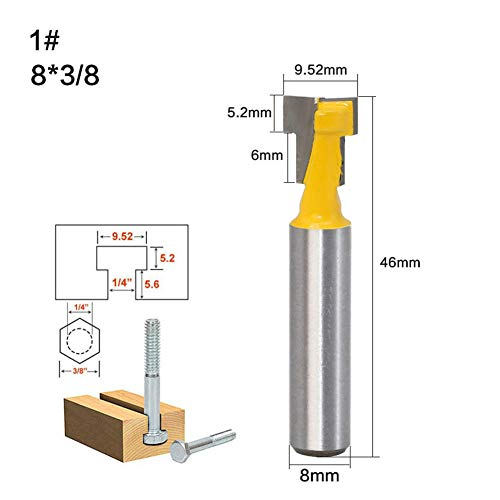 Holzbearbeitungsfräser_Holzbearbeitungsfräser 8-Griff-Gegenmesser Holzwand T-Form@Schlüssellochmesser 8 * 3/8