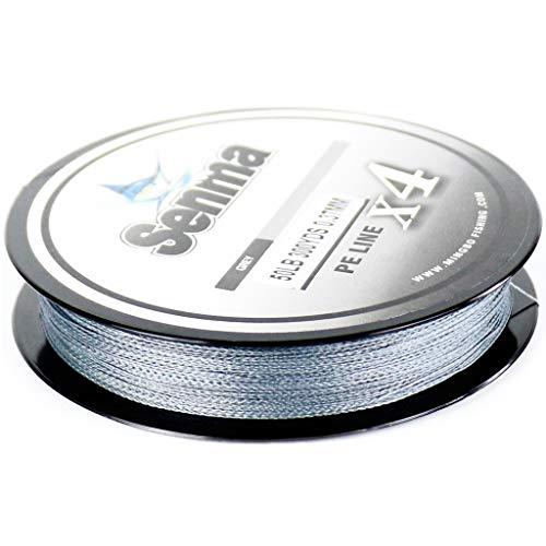 SENMA Super Braided Fishing Line 8lb-80lb High Performance PE Fishing Lines 300YDS/500YDS Ultra-high Sensitivity & Zero Stretch 4 Strands Wire (Grey, 500yds/10LB)