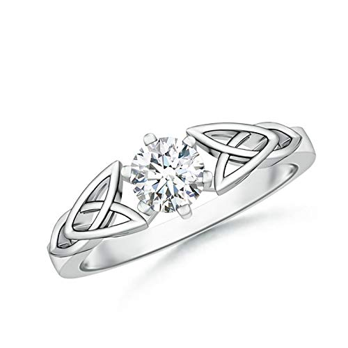 Solitaire Round Moissanite Celtic Knot Ring in Platinum (5mm Moissanite)