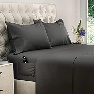 DreamCare Deep Pocket Sheets Microfiber Sheets Bed Sheets Set 4 Piece Bedding Sets King Size, Gray