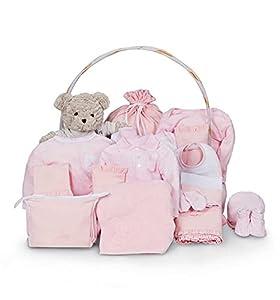 BebeDeParis | Regalos Personalizados para Bebés Recién Nacidos | Cesta Completa Premium para Bebé | Estilo Clásica Ensueño | 3-6 Meses (Rosa)