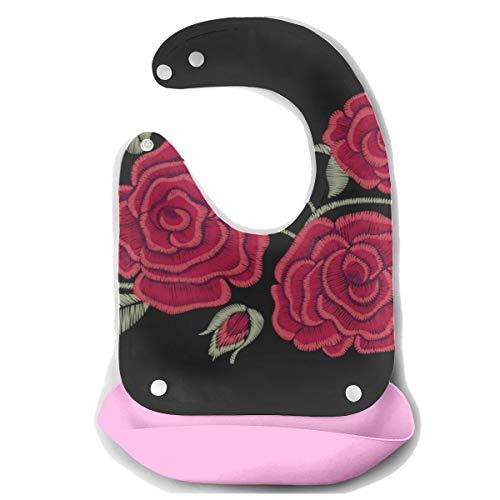 Enhusk Bavoir personnalisé pour bébé brodé de fleurs Chic Roses Rouges Mode Détachable Tablier de Souris en Silicone Souris Serviette Bébé Nourrir Dribble Bavoir Bavoir Infant Big Bibs