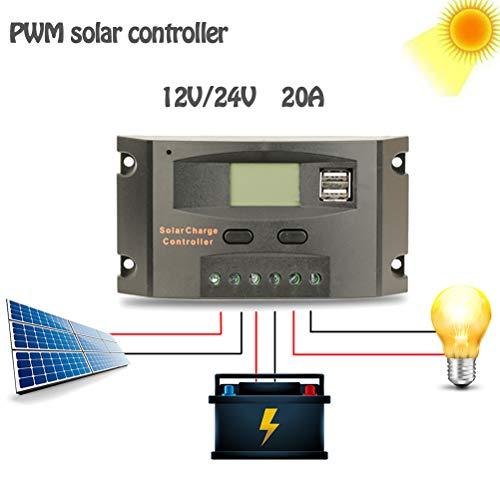 PWM 20A Solar Laadregelaar, 12V 24V LCD Display zonnepaneel Dual USB-poort, batterijlader Intelligent Straatverlichting Verlichting,Black