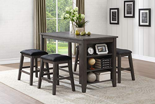 Lexicon 5-Piece Counter Height Dining Set, Gray Dining Room Set Bookcase
