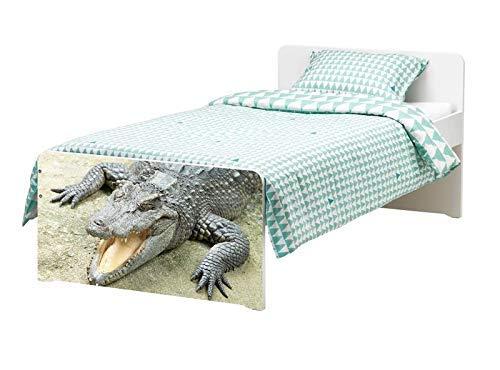 Möbelaufkleber für Ikea SLÄKT Bett Alligator Krokodil Tier Kat6 boese Zaehne bed Aufkleber Möbelfolie Tür sticker Folie (Ohne Möbel) 25K017