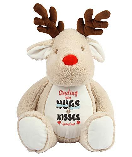 Mother's Day Sending You Hugs and Kisses Grandma Teddy Bear Soft toys Anniversary Secret Santa Birthday Present. (Reindeer)