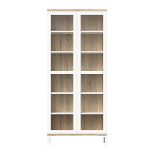 Tvilum Aberdeen 2 Door China Cabinet, White/Oak Structure
