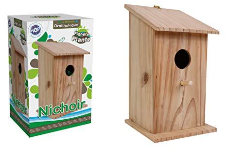 PLANETE PLANTE 170425 Nichoir À Oiseaux-Le Monde Ornithologue-22 cm-À Partir de 4 Ans, Bois