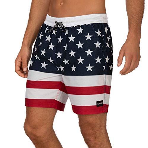 Hurley Men's Patriot USA 18' Inch Elastic Waist Volley Swim Short, Gym Red, L
