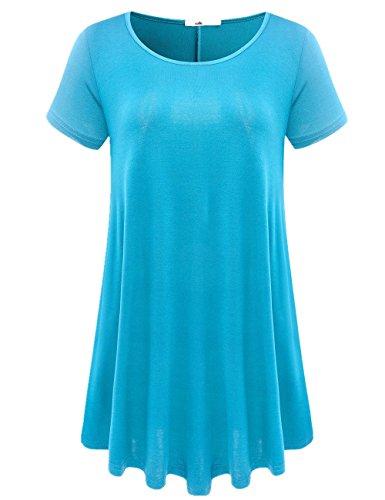 JollieLovin Women's Short Sleeve Loose Fit Flare Hem T Shirt Tunic Top (Lake Blue, 2X)