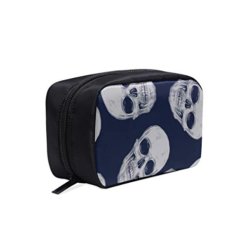 Sac à fermeture éclair Fashion Vector Skulls sans couture Tissus de design Sac à main Fashion Man Sac de toilette de voyage Grand sac de maquillage de voyage Sacs à cosmétiques Étui multifonction Sac