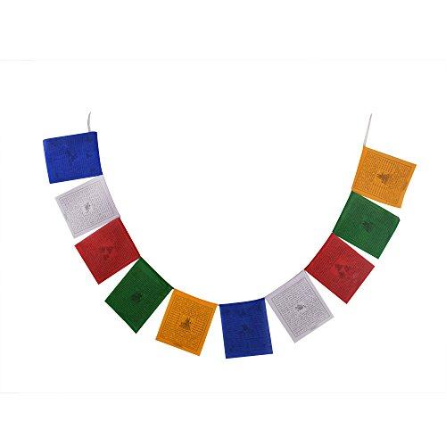 Tibetisch-buddhistische flatternde Baumwolle Gebetsfahnen (Lungta) Mantras und Wind Pferde Pack von 1 FH-FLAG-1103 (P1)