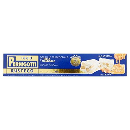 Pernigotti, Torrone Rustego Gold, Senza Glucosio e Fruttosio, con Extra Miele e Mandorle, Ricetta Premium, 250 gr