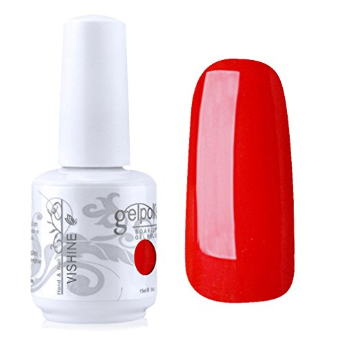 Vishine Vernis à ongles Semi-permanent Soak-off UV LED Nail Art Manucure Base Top Coat Rouge vif (1535)