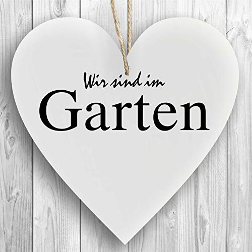 Herzschild Holzherz Holzschild 16 x 16 cm Wir sind im Garten weiß Dekoschild Wandschild Schild Holz Geschenk