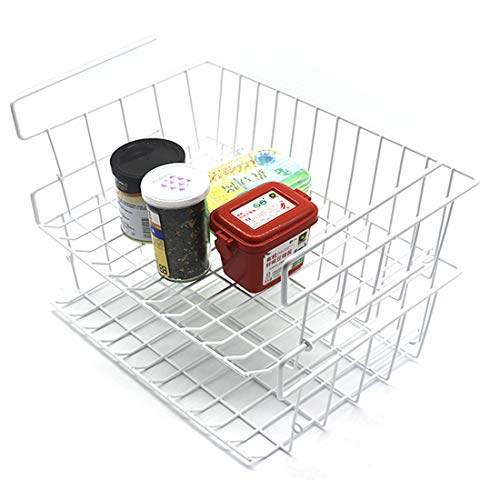 Cestello portaoggetti sotto il ripiano Cestino portaoggetti in filo organizer da appendere sotto il ripiano rimovibile per cucina, armadi, mensole, ufficio (2 pezzi, bianco)