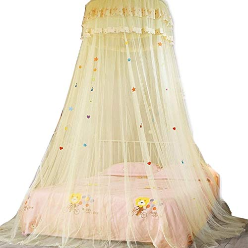 Best Deals! LBSX Twinkle Star Bed Canopy for Single to King Size Beds Princess Dome Ceiling Net Bed Cover Double-Layered Mosquito Net, Bed Curtain Net (White)