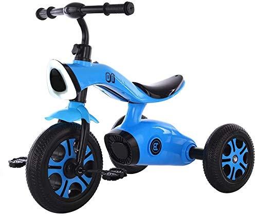 Bck Triciclo for niños con la Rueda Trasera Desmontable, Deportes Infantiles Trikes Pedal Los Coches con Altavoces de música, 3-6Year Old Boys niñas Juguetes for Montar Scooters (Color : Azul)