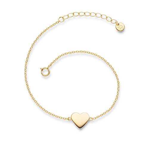 Glanzstücke München Damen-Armband Herz Sterling Silber gelbvergoldet 17 cm + 3 cm - Armkettchen mit Herz-Anhänger Silberkettchen Silber 925 Herzarmband