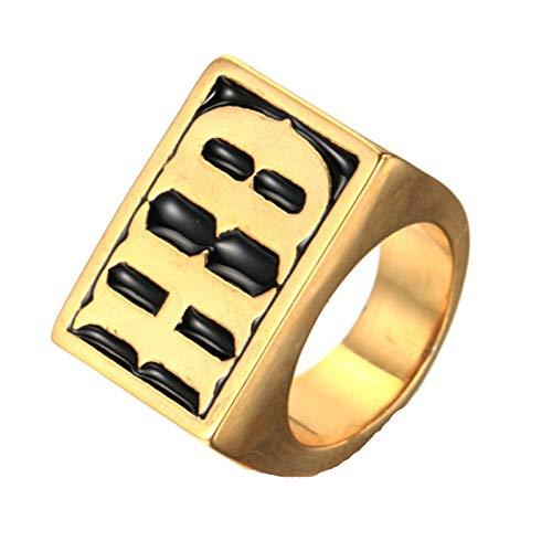 NA Anillo de Moda Hombre Acero Inoxidable Vintage Retro Gold Rock Letters HD Ring 3CM