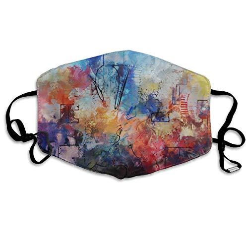 Wrution Gesichtsmaske aus Baumwolle, Motiv: bunte moderne Kunst, Pinselstriche, abstrakte Pinselmalerei, Atemmaske, bequem, wiederverwendbar, für Damen und Herren