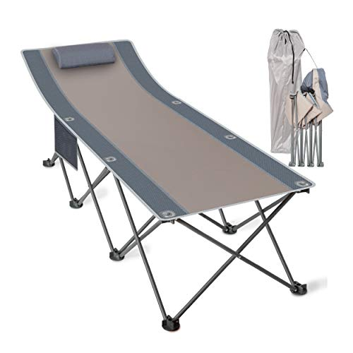 Koozam Outdoor Folding Camping Cot for Adults with Elevated Headrest, Pillow and Side Storage Organizer | Heavy Duty Foldable Travel Lounger for Camp, Hunting, Backpacking, Glamping, Sun Tanning
