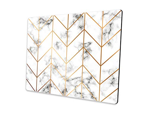 Rectangle Marble Texture Mouse pad, Golden Geometric Lines Mousepad, Black and White marbling Surface Mouse pad 9.5x7.9x0.125 Inch