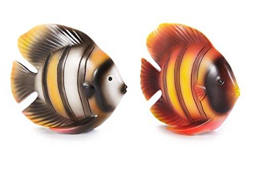 HEITMANN DECO - Poissons en Porcelaine, Porcelaine, Orange, Noir, Blanc, 15 x 5,3 x 12 cm