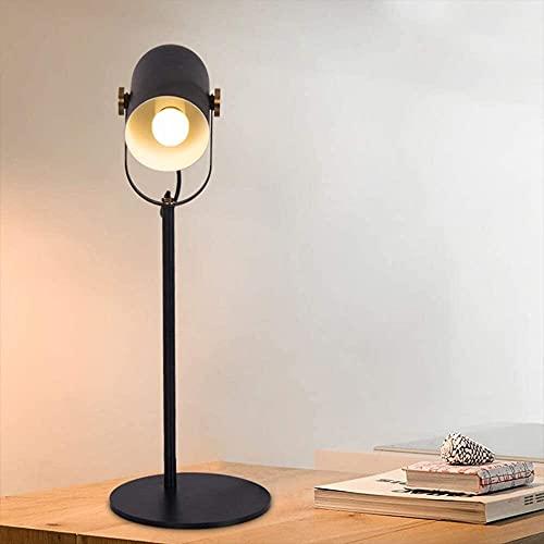 Lievevt Lámpara Escritorio Pantalla de Hierro Forjado nórdico Escritorio oftálmico Oficina LED lámpara de Mesa Ajustable con Soporte Negro